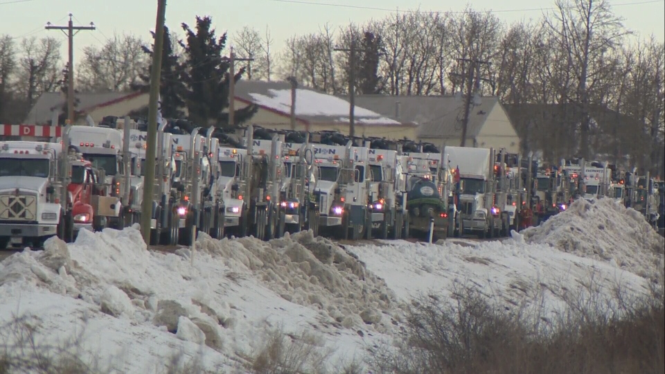 Truckers for Pipelines heading to a pro-pipeline rally in Nisku, Alta. on Dec. 19, 2018.