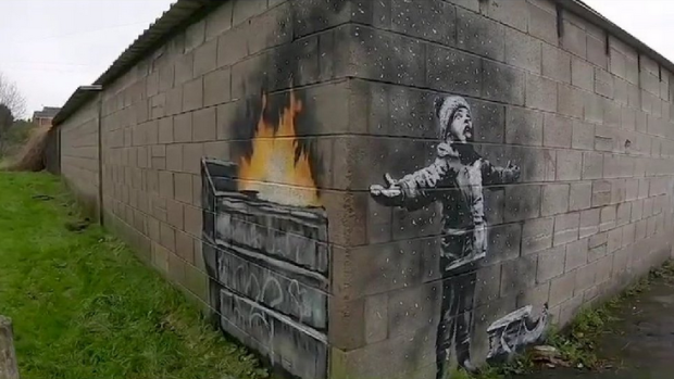 Street artist and social commentator Banksy has apparently popped up in Wales, leaving a new artwork on a garage in Port Talbot. (Banksy / Instagram)