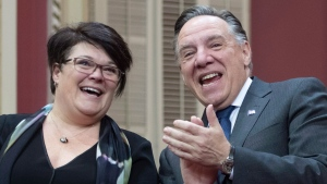 Nancy Guillemette, left, is applauded by Quebec Premier Francois Legault after she was sworn in as Member of the National Assembly for the riding of Roberval at the legislature in Quebec City, Wednesday, Dec. 19, 2018. Guillemette replaces Former Quebec premier Philippe Couillard as MNA for Roberval. THE CANADIAN PRESS/Jacques Boissinot