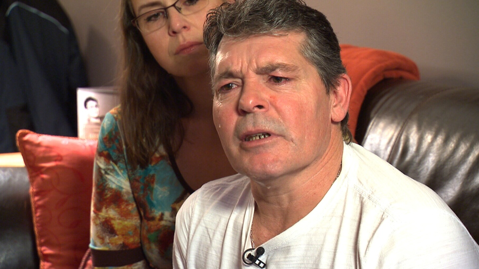 Roger Harris (right) and his wife Gina Harris (left) speak about the loss of Brennan Harris, in Abbotsford, B.C.