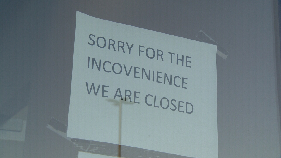 A sign on the front door of a Core Dental Group location notified customers the business had been shut down.