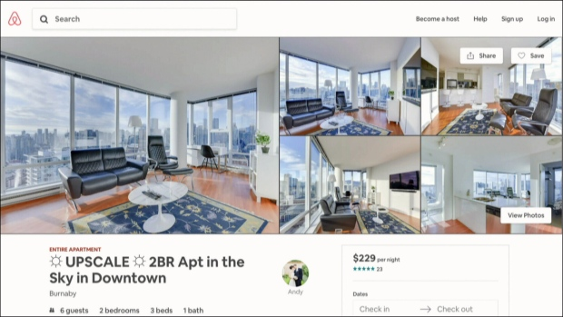 An Airbnb listing that claims to be in Burnaby is seen here.