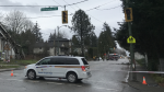 Hydro crews respond to a downed power line in Vancouver's Dunbar neighbourhood. Dec. 20, 2018.
