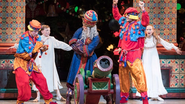 "Toronto Maple Leafs Auston Matthews (right) and Mitchell Marner appear as Cannon Dolls in a production of ""The Nutcracker"" in Toronto on Wednesday December 19, 2018. THE CANADIAN PRESS/Chris Young"
