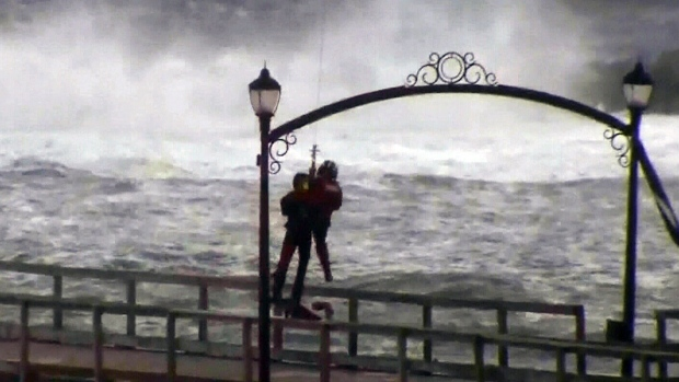 dramatic rescue at damaged white rock pier