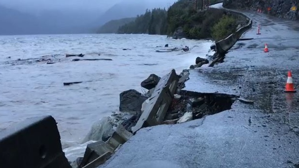 A washout on Highway 4 between Port Alberni and Tofino is seen in the aftermath of one of the most severe storms to hit B.C. in years. Dec. 21, 2018. (Facebook)