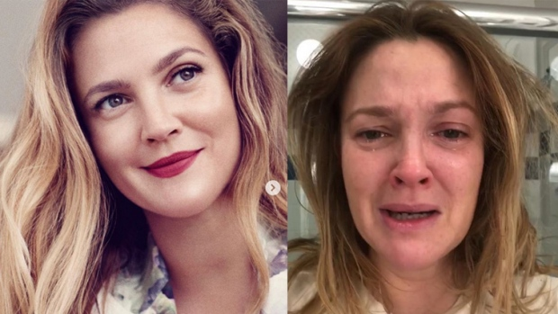 Drew Barrymore shares make-up free photo with tears running down her face