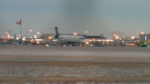 A plane slid off the runway at the Saskatoon airport on December 21, 2018.