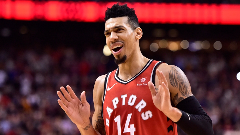 Toronto Raptors guard Danny Green (14) celebrates after controlling a jump ball with seconds left in NBA basketball action against the Indiana Pacers in Toronto on Wednesday, Dec. 19, 2018. (THE CANADIAN PRESS/Frank Gunn)