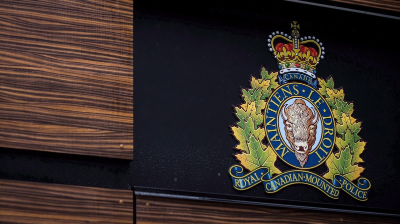 "The RCMP logo is seen outside Royal Canadian Mounted Police ""E"" Division Headquarters, in Surrey, B.C., on Friday April 13, 2018. THE CANADIAN PRESS/Darryl Dyck"