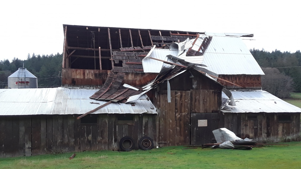 Wind severely damaged a structure at Ruckle Park Heritage Farm on Salt Spring Island, B.C. Dec. 22, 2018. (Courtesy Christian Tatonetti)