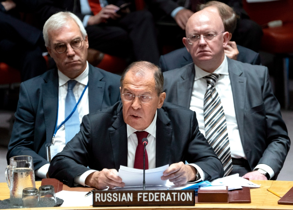 Ambassador to the United Nations Vassily Nebenzia, right, listens to Russian Foreign Minister Sergey Lavrov as he addresses the United Nations Security Council during the 73rd session of the United Nations General Assembly, at U.N. headquarters, Wednesday, Sept. 26, 2018. (AP Photo/Craig Ruttle)