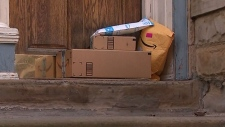 Online shopping packages on a doorstep