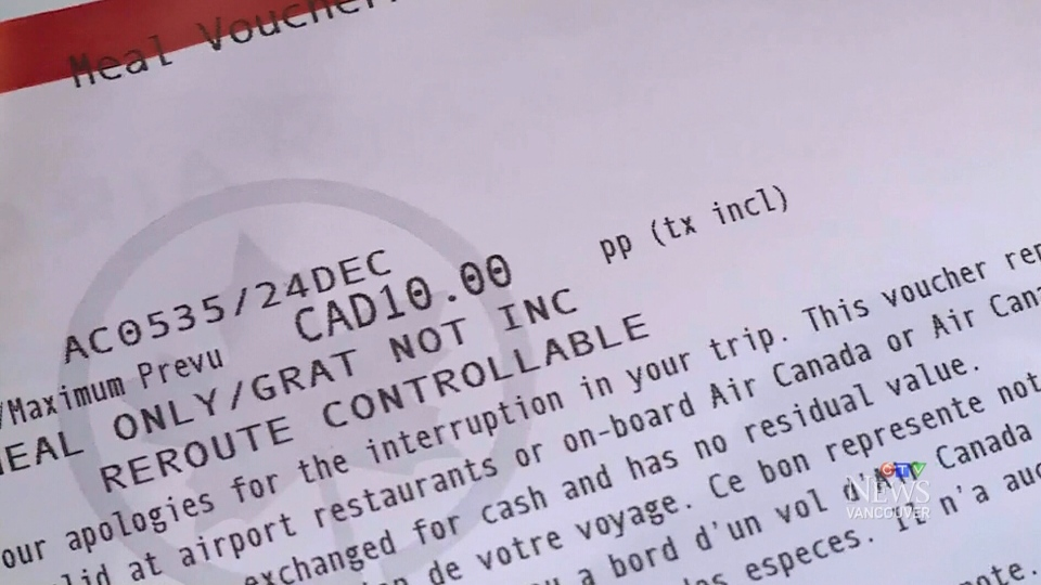Passengers of an Air Canada flight heading for Hawaii was given this $10 meal voucher after it was forced to return to Vancouver. (CTV News)
