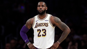 "In this Dec. 23, 2018, file photo, Los Angeles Lakers' LeBron James stands during the first half of an NBA basketball game against the Memphis Grizzlies in Los Angeles. James is sorry for posting a lyric that referenced ""Jewish money."" (AP Photo/Marcio Jose Sanchez, File)"