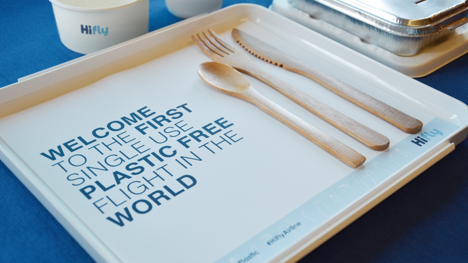A promotional image from Hi Fly's first plastic free flight from Lisbon, Portugal to Natal, Brazil. (Hi Fly)
