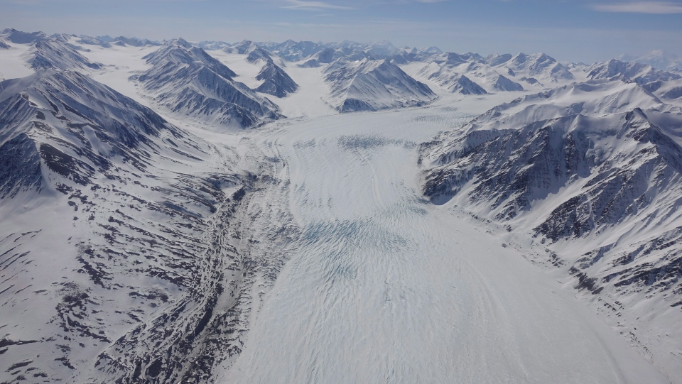 Climate change is prompting glaciers in British Columbia, Yukon and Alberta to retreat faster than at any time in history, threatening to raise water levels and create deserts, scientists say. An icefield in the Saint Elias mountain icefield ranges is seen in an undated handout photo. THE CANADIAN PRESS/HO-Zac Robinson
