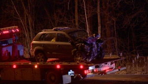 A 42-year-old motorist was killed and five others injured in a three-car crash on Highway 10 near Brossard on Thur., Dec. 27, 2018. (Photo: Stephane Gregoire/CTV Montreal)