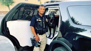 This undated photo provided by the Newman Police Department shows officer Ronil Singh of Newman Police Department who was killed by an unidentified suspect.  (Stanislaus County Sheriff's Department via AP)