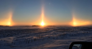 The return of cold winter weather to Manitoba brought with it a visual phenomena seen across the province - sun dogs. (Photo submitted by Cindy Klassen, south of Plum Coulee.)