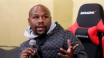 Floyd Mayweather Jr. speaks during a news conference in Tokyo Saturday, Dec. 29, 2018. (AP Photo/Eugene Hoshiko)