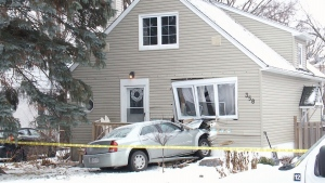 A home in Ottawa is facing considerable repairs after a vehicle barreled into the front of it, the second time this has happened in two years. (CTV Ottawa)
