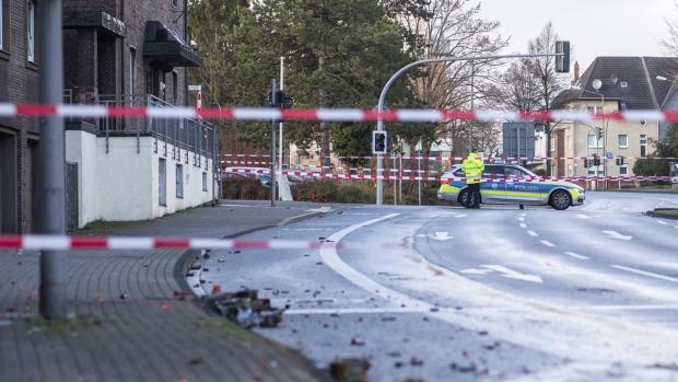 Police block a road in Bottrop, Germany