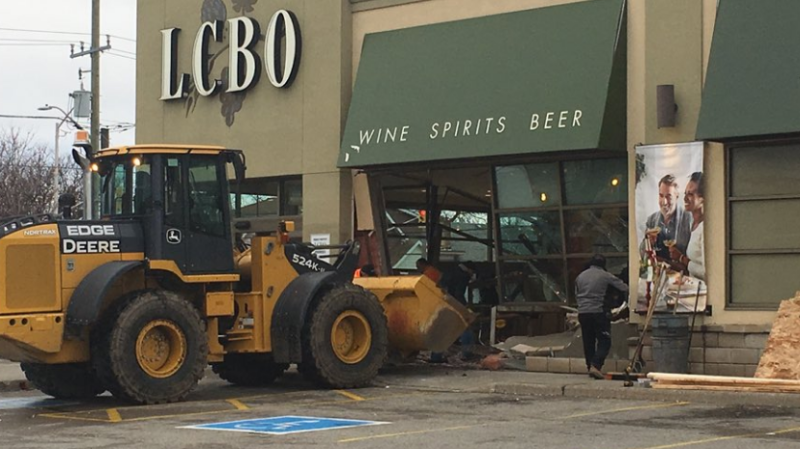 Clean-up begins after an LCBO robbery in London, Ont. on Jan. 1, 2019. (Brent Lale / CTV London)