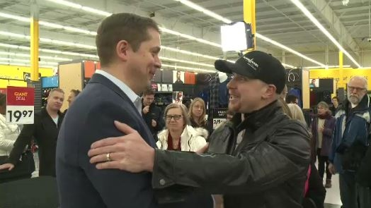 Andrew Scheer spoke with supporters Tuesday afternoon in east Regina.
