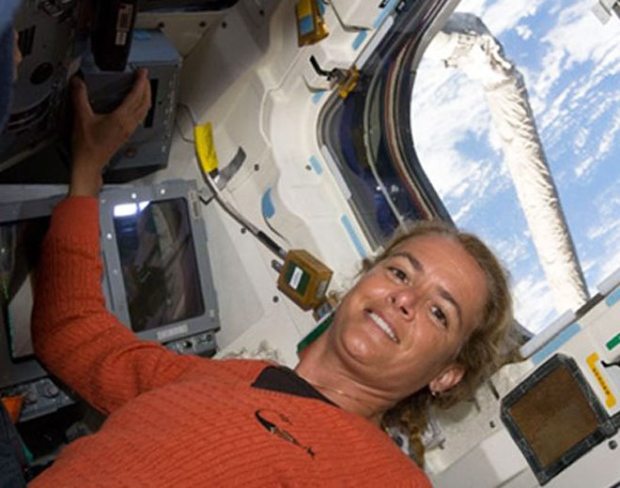 Canadian Space Agency astronaut Julie Payette, STS-127 mission specialist, is pictured on the aft flight deck of Space Shuttle Endeavour, Friday, July 17, 2009. (AP / NASA TV)