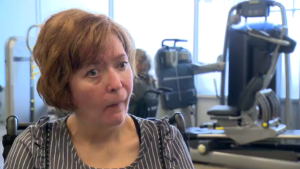 "In 2007, Bergeron suffered a stroke and developed ""Locked in"" syndrome, a condition in which a patient can't move or speak, and may never recover. But through intensive therapy, she is slowly regaining some control of her limbs. (CTV Montreal)"