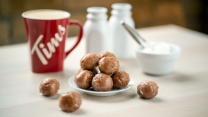 The double-double Timbits are seen in this handout image. (CNW Group/Tim Hortons)