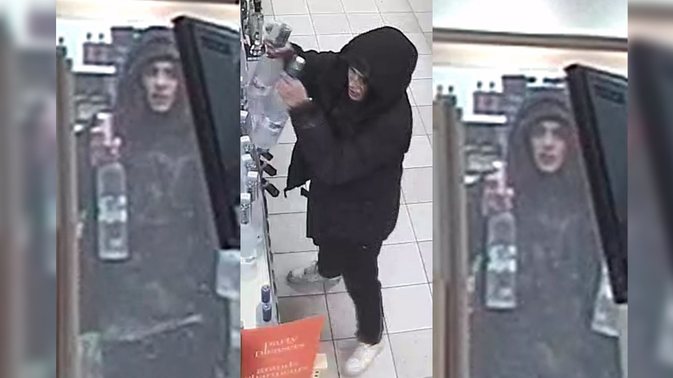 Police released these images of a suspect wanted in an LCBO theft in London, Ont. on Tuesday, Jan. 1, 2019.