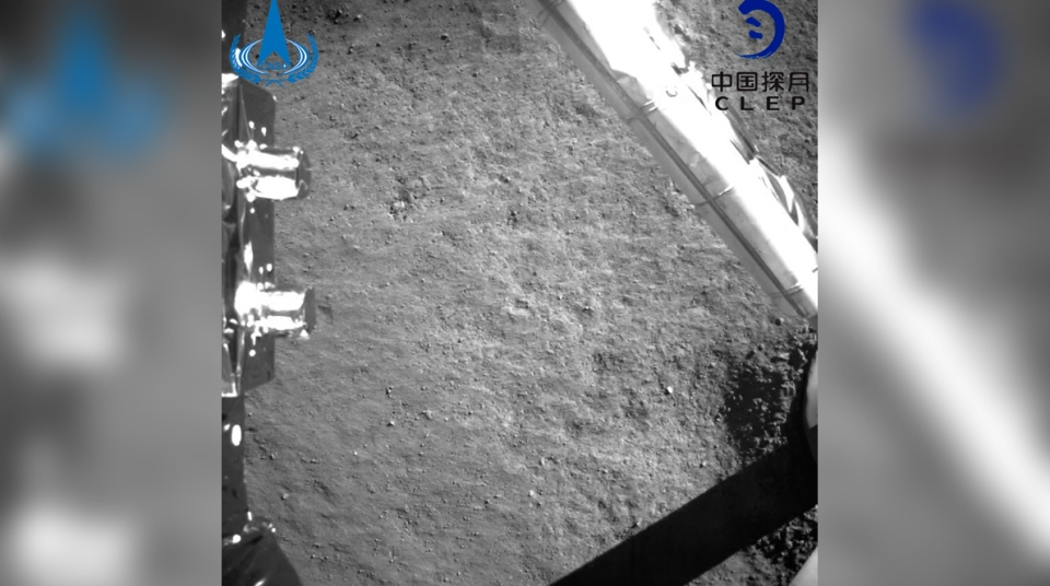 An image taken by China's Chang'e-4 probe after its landing, on Jan. 3, 2019. (China National Space Administration / Xinhua News Agency via AP)