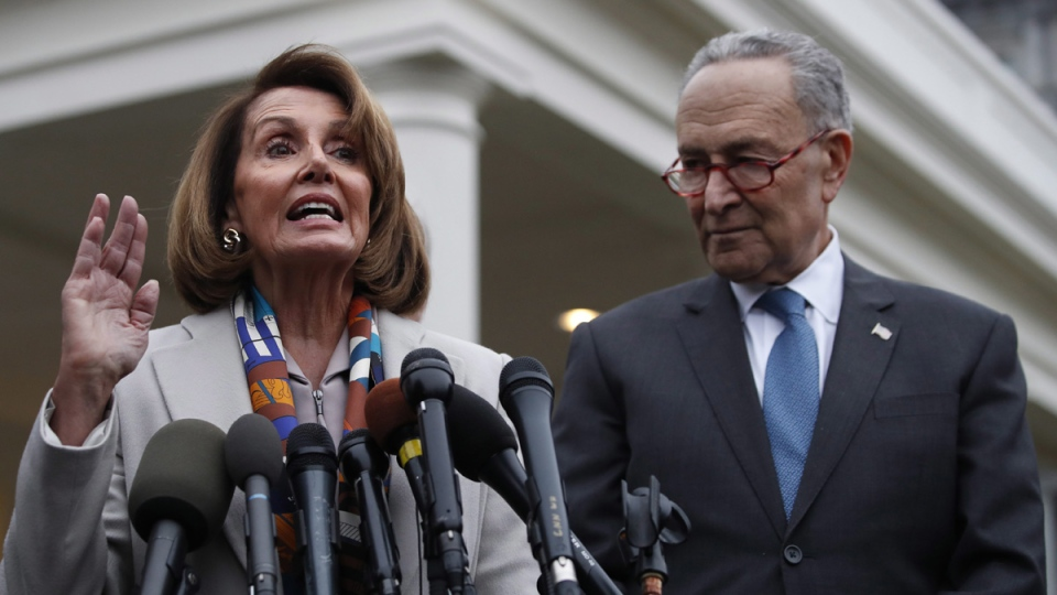 House Democratic leader Nancy Pelosi of California, left, the House Speaker-designate, and Senate Minority Leader Chuck Schumer, D-N.Y., after meeting with U.S. President Donald Trump, on Jan. 2, 2019. (Jacquelyn Martin / AP)