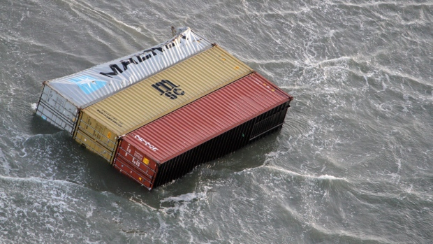 Containers in the sea from ship caught in storm
