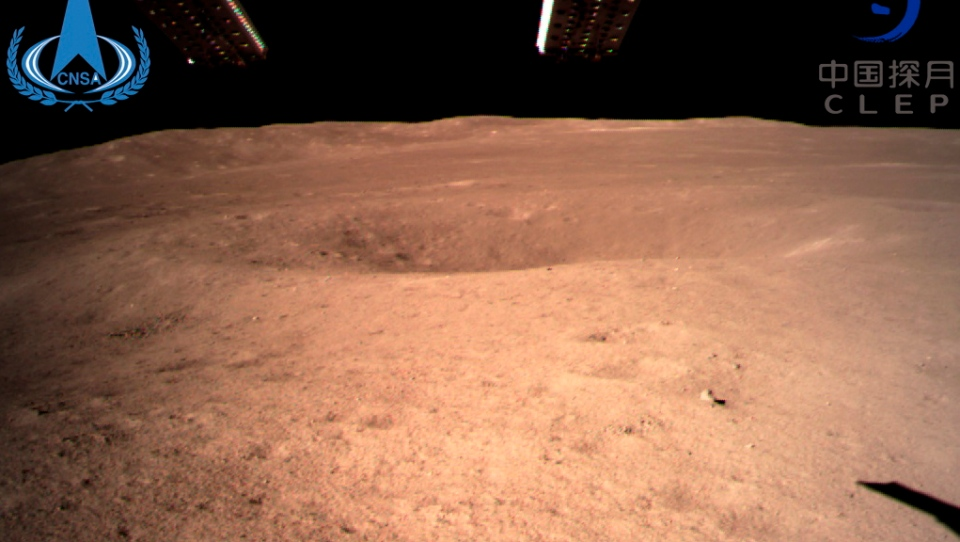 In this photo provided Jan. 3, 2019, by China National Space Administration via Xinhua News Agency, the first image of the moon's far side taken by China's Chang'e-4 probe. A Chinese spacecraft on Thursday, Jan. 3, made the first-ever landing on the far side of the moon, state media said. The lunar explorer Chang'e 4 touched down at 10:26 a.m., China Central Television said in a brief announcement at the top of its noon news broadcast.(China National Space Administration/Xinhua News Agency via AP)