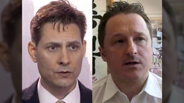"""Michael Kovrig (left) and Michael Spavor, the two Canadians detained in China, are shown in these 2018 images taken from video. A Chinese government spokesman says it is not """"convenient"""" to do discuss the charges against two Canadians detained in China despite an assertion by the country's top prosecutor that they broke the law. THE CANADIAN PRESS/AP"""