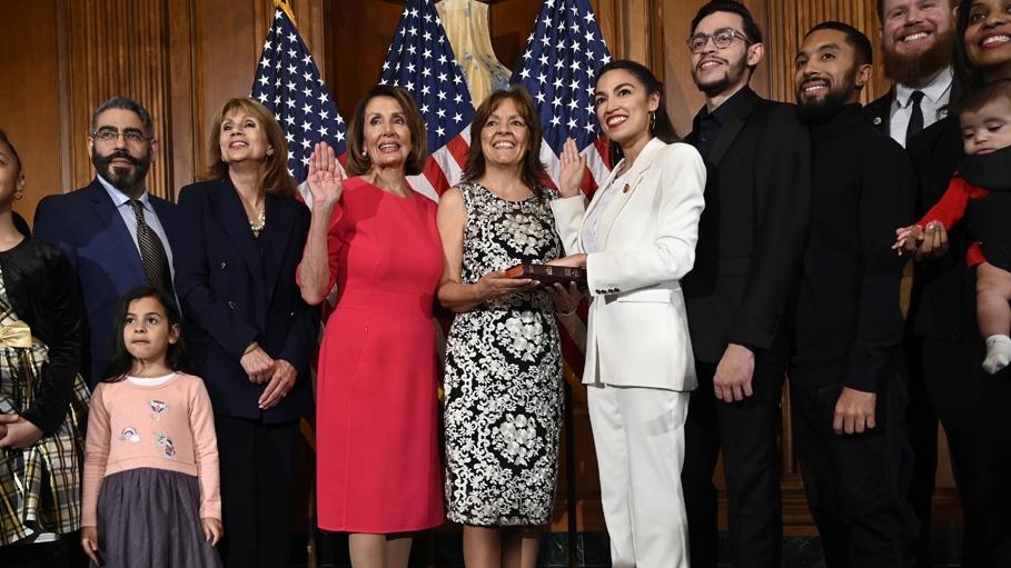 Nancy Pelosi with Alexandria Ocasio-Cortez