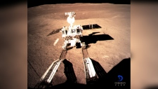 Yutu-2, China's lunar rover, leaves wheel marks