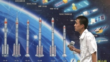 Various Long March space rockets and satellites