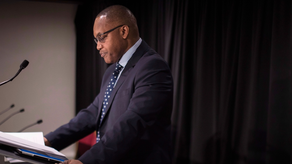 Justice Michael Tulloch discuses the report from the Independent Street Checks Review looking at Ontario's regulation on police street cheeks during a press conference at the Chelsea Hotel in Toronto, Friday, January 4, 2019. THE CANADIAN PRESS/ Tijana Martin