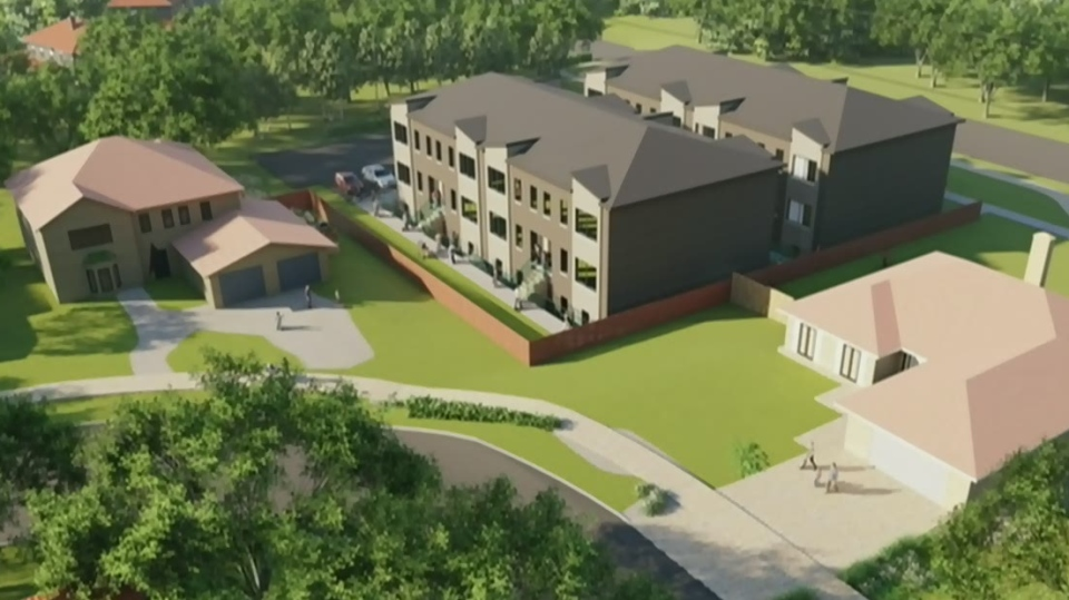An artist's rendering shows a proposed townhouse development in London's Orkney-Angus neighbourhood near Western University.