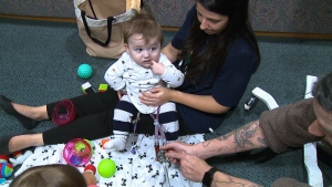 Nine-month-old Lucas Tanswell is seen in this photograph.