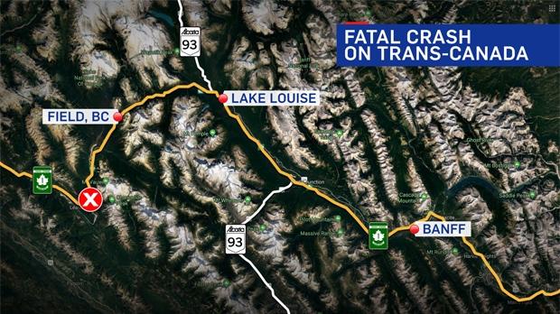 Fatal Trans-Canada Highway crash near Field B.C.