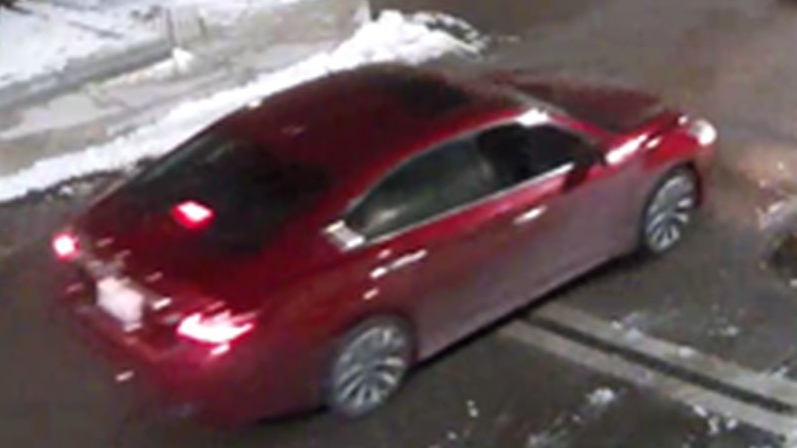 A suspect vehicle in a shooting on Walpole Avenue early Friday morning is shown in this surveillance camera image. (Toronto Police Service)
