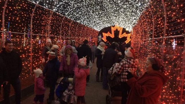 Residents move through Bright Lights Windsor at Jackson Park on Friday December 7, 2018. (Photo by AM800's Gord Bacon)