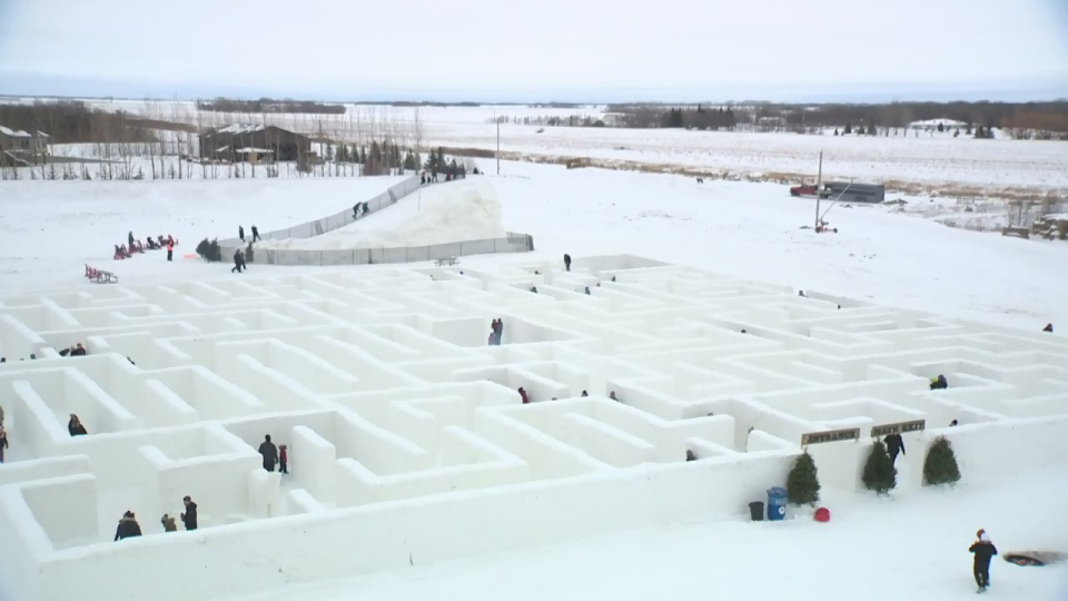 A Maze in Snow, which its creators believe to be the largest snow maze in the world, is housed on a farm in St. Adolphe, Man.