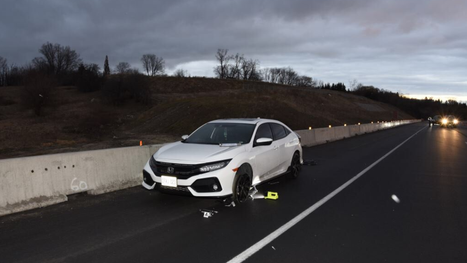 A woman was taken to hospital after she was struck by a passing vehicle on the 401 near Cambridge. (OPP)