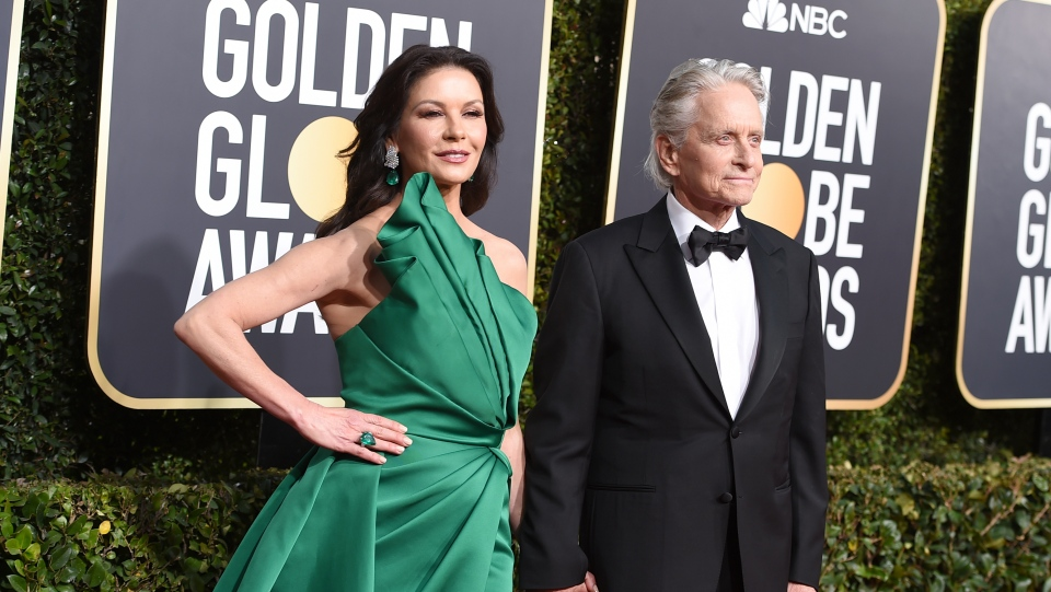 Catherine Zeta-Jones, left, and Michael Douglas arrive at the 76th annual Golden Globe Awards at the Beverly Hilton Hotel on Sunday, Jan. 6, 2019, in Beverly Hills, Calif. (Photo by Jordan Strauss/Invision/AP)